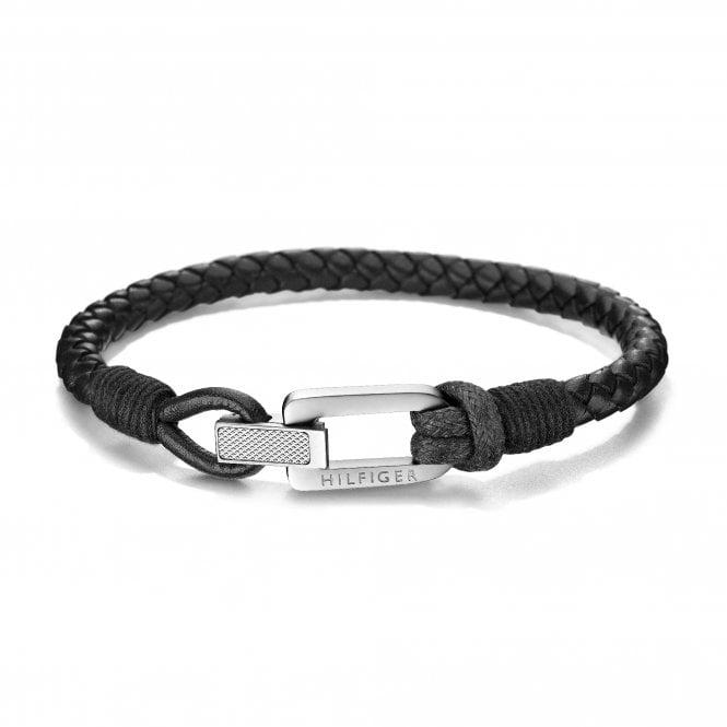 TOMMY HILFIGER Casual Braided Fold-Over Black Leather Bracelet
